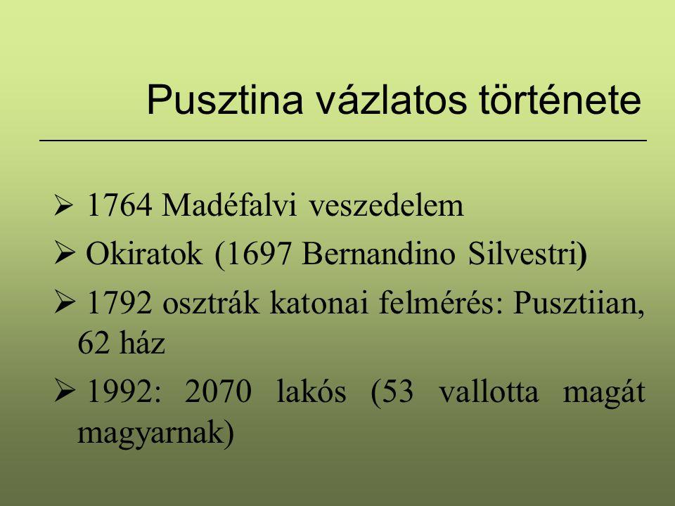 Pusztina vázlatos története  1764 Madéfalvi veszedelem  Okiratok (1697 Bernandino Silvestri)  1792 osztrák katonai felmérés: Pusztiian, 62 ház  19