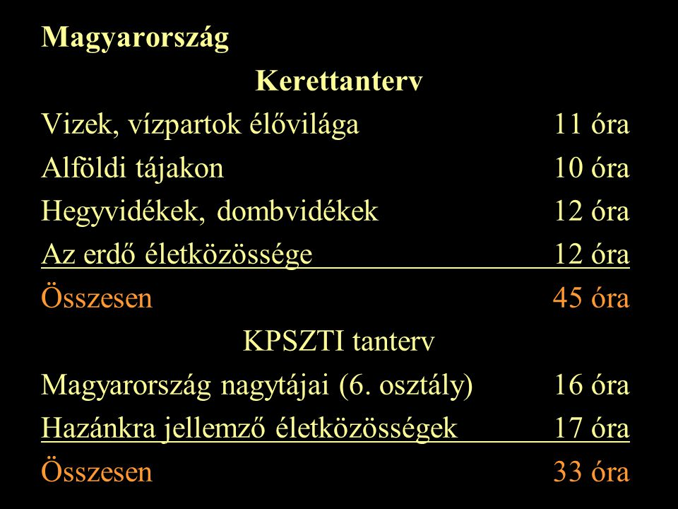 Magyarország Kerettanterv Vizek, vízpartok élővilága 11 óra Alföldi tájakon 10 óra Hegyvidékek, dombvidékek 12 óra Az erdő életközössége 12 óra Összesen 45 óra KPSZTI tanterv Magyarország nagytájai (6.