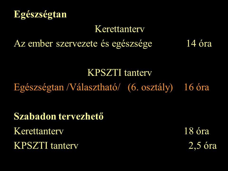 Egészségtan Kerettanterv Az ember szervezete és egészsége 14 óra KPSZTI tanterv Egészségtan /Választható/(6.