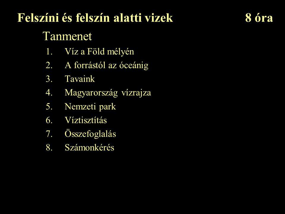 Felszíni és felszín alatti vizek8 óra Tanmenet 1.Víz a Föld mélyén 2.A forrástól az óceánig 3.Tavaink 4.Magyarország vízrajza 5.Nemzeti park 6.Víztisztítás 7.Összefoglalás 8.Számonkérés