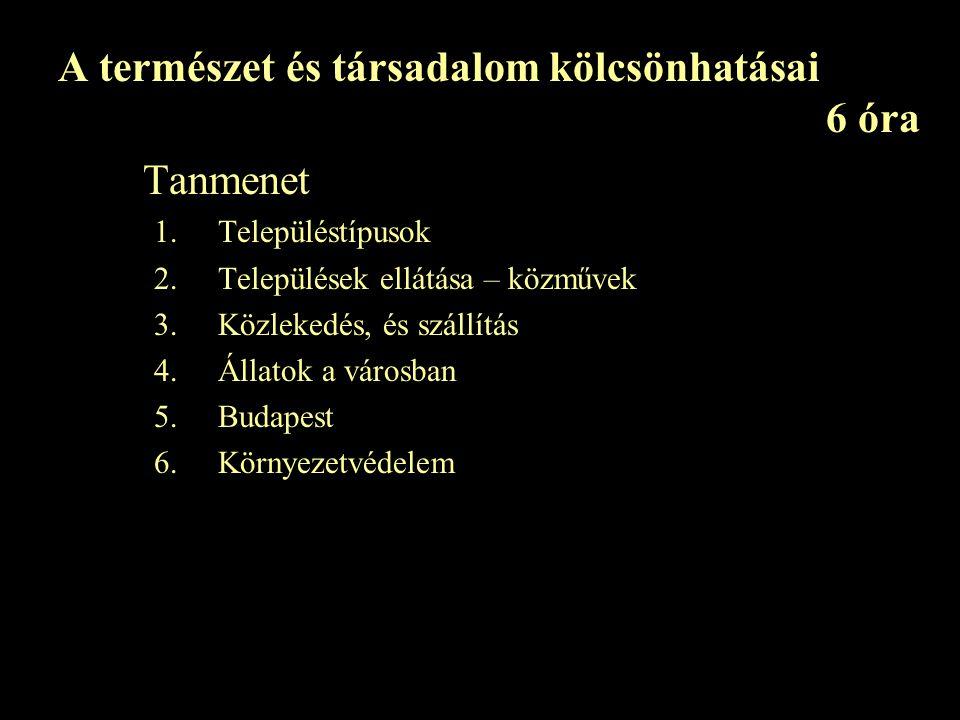 A természet és társadalom kölcsönhatásai 6 óra Tanmenet 1.Településtípusok 2.Települések ellátása – közművek 3.Közlekedés, és szállítás 4.Állatok a városban 5.Budapest 6.Környezetvédelem