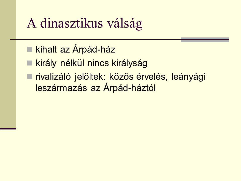 A dinasztikus válság  kihalt az Árpád-ház  király nélkül nincs királyság  rivalizáló jelöltek: közös érvelés, leányági leszármazás az Árpád-háztól
