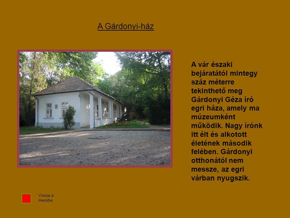 A vár északi bejáratától mintegy száz méterre tekinthető meg Gárdonyi Géza író egri háza, amely ma múzeumként működik. Nagy írónk itt élt és alkotott