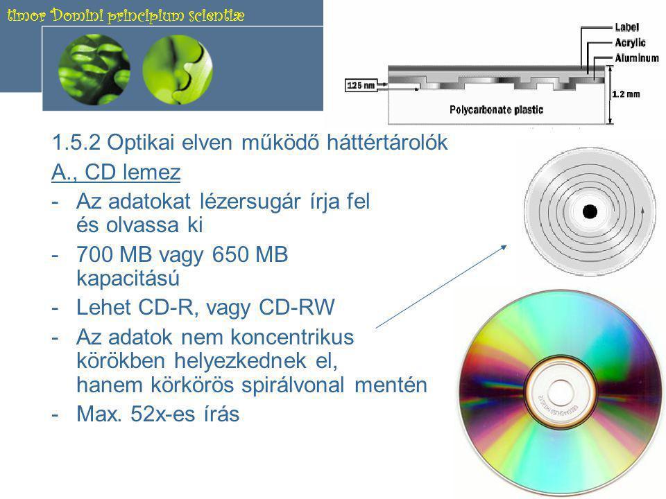 timor Domini principium scientiæ 12 1.5.1 Mágneses elven működő háttértárolók B., Merevlemez (HDD) -Az adatokat mágnes- korongok őrzik.