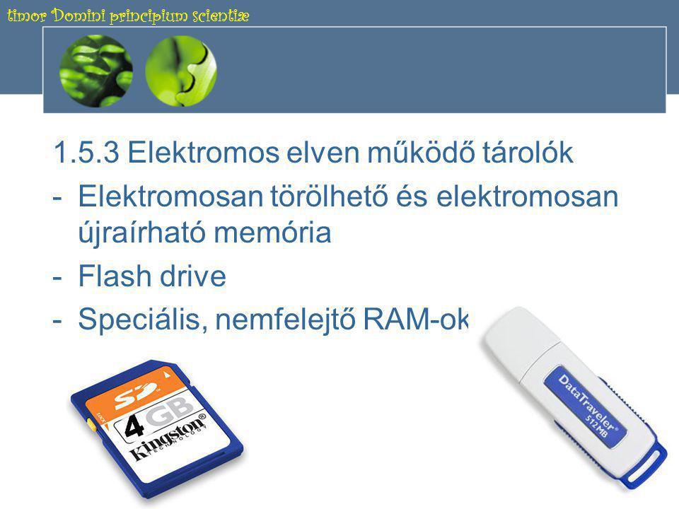 timor Domini principium scientiæ 17 ÉRDEKESSÉG DVD-RAM lemez •Koncentrikus sávokban tárolja az adatokat •Maximálisan 9,4 GB •Kb.