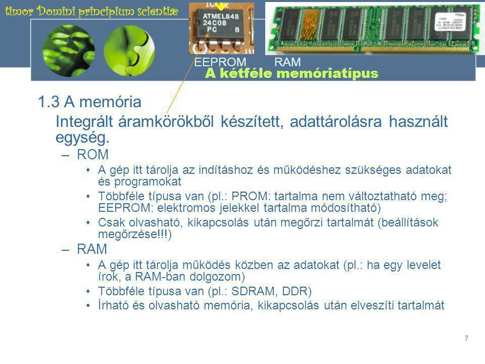 timor Domini principium scientiæ 6 ÉRDEKESSÉG •Az órajel a PC munkaüteme, megaherztben (MHz) illetve gigaherztben (GHz) mérik.
