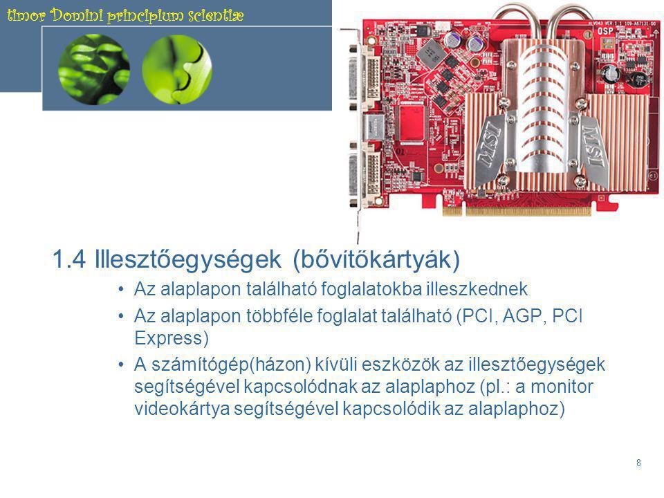 timor Domini principium scientiæ 7 A kétféle memóriatípus 1.3 A memória Integrált áramkörökből készített, adattárolásra használt egység.