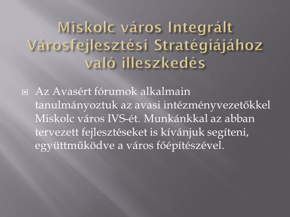  Az Avasért fórumok alkalmain tanulmányoztuk az avasi intézményvezetőkkel Miskolc város IVS-ét.