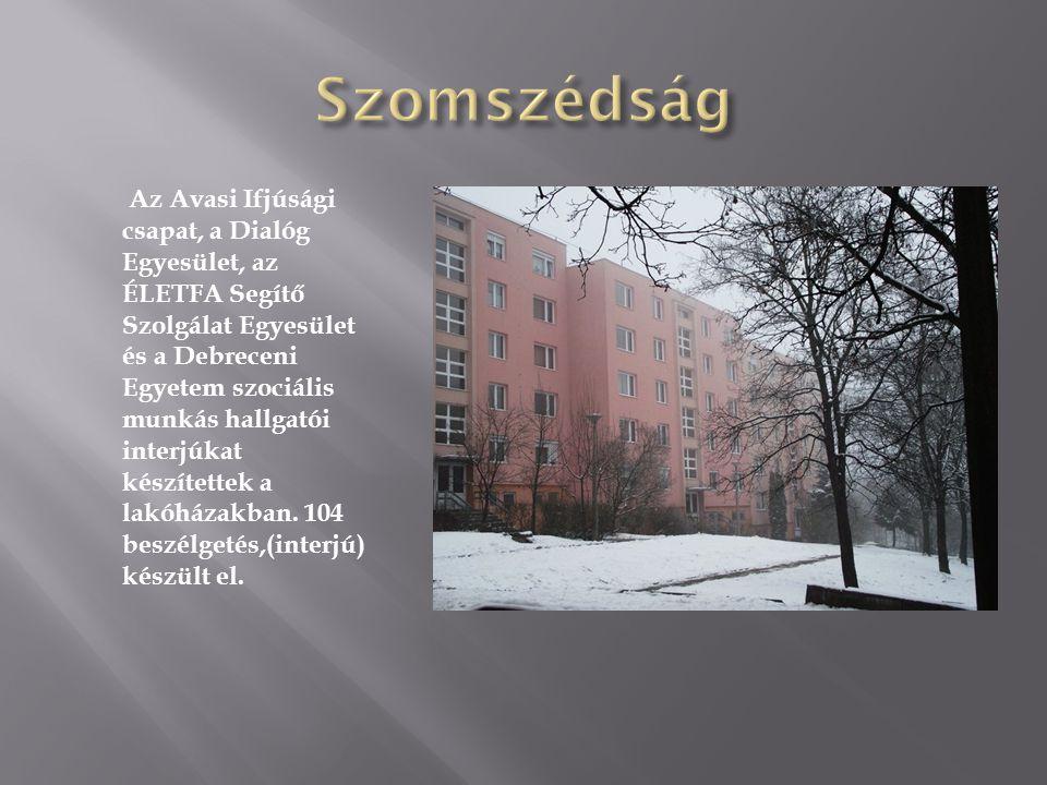 Az Avasi Ifjúsági csapat, a Dialóg Egyesület, az ÉLETFA Segítő Szolgálat Egyesület és a Debreceni Egyetem szociális munkás hallgatói interjúkat készítettek a lakóházakban.