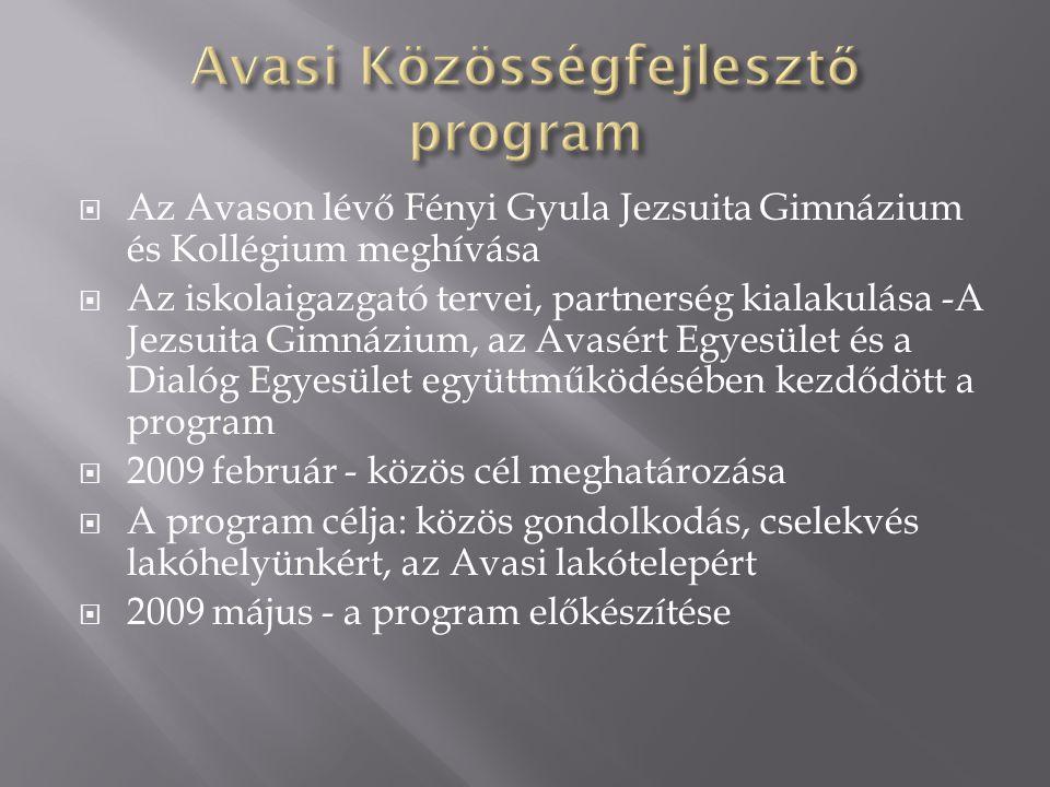  Az Avason lévő Fényi Gyula Jezsuita Gimnázium és Kollégium meghívása  Az iskolaigazgató tervei, partnerség kialakulása -A Jezsuita Gimnázium, az Avasért Egyesület és a Dialóg Egyesület együttműködésében kezdődött a program  2009 február - közös cél meghatározása  A program célja: közös gondolkodás, cselekvés lakóhelyünkért, az Avasi lakótelepért  2009 május - a program előkészítése