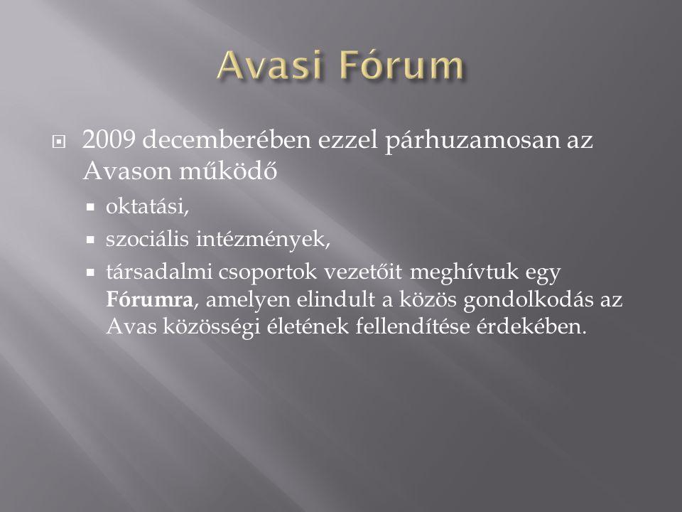 2009 decemberében ezzel párhuzamosan az Avason működő  oktatási,  szociális intézmények,  társadalmi csoportok vezetőit meghívtuk egy Fórumra, amelyen elindult a közös gondolkodás az Avas közösségi életének fellendítése érdekében.