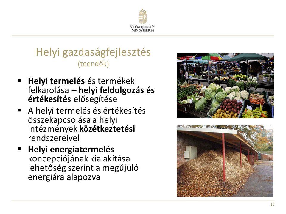 12 Helyi gazdaságfejlesztés (teendők)  Helyi termelés és termékek felkarolása – helyi feldolgozás és értékesítés elősegítése  A helyi termelés és ér