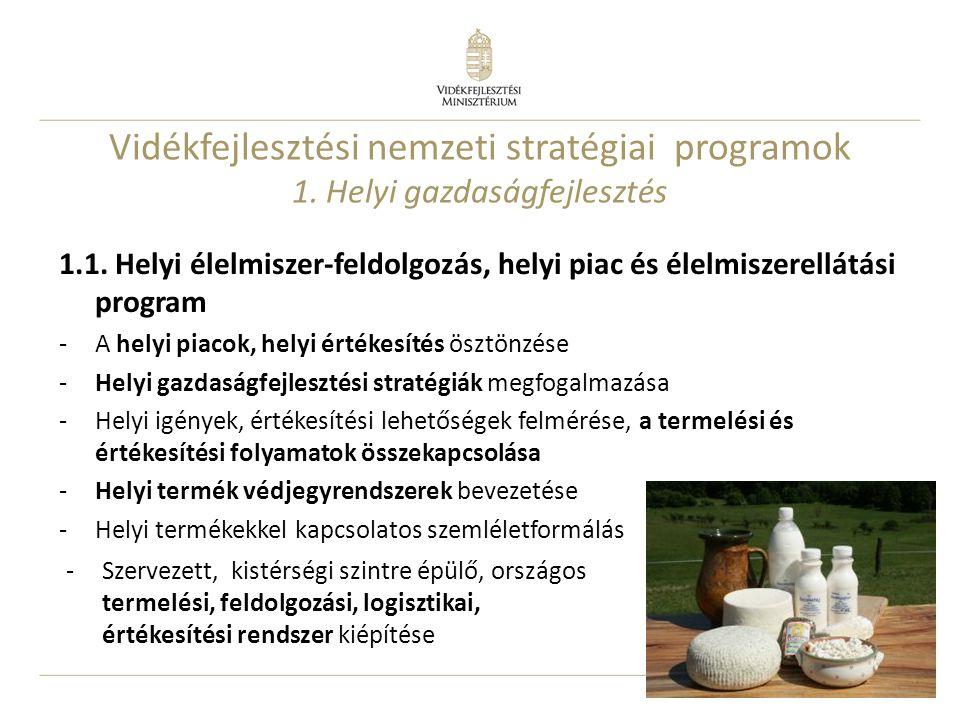 16 1.1. Helyi élelmiszer-feldolgozás, helyi piac és élelmiszerellátási program -A helyi piacok, helyi értékesítés ösztönzése -Helyi gazdaságfejlesztés