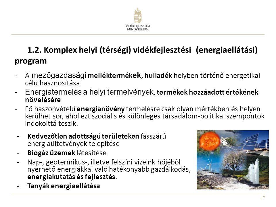 17 1.2. Komplex helyi (térségi) vidékfejlesztési (energiaellátási) program -A mezőgazdasági melléktermék ek, hulladék helyben történő energetikai célú