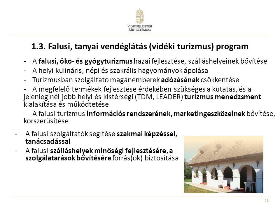 18 1.3. Falusi, tanyai vendéglátás (vidéki turizmus) program -A falusi, öko- és gyógyturizmus hazai fejlesztése, szálláshelyeinek bővítése -A helyi ku