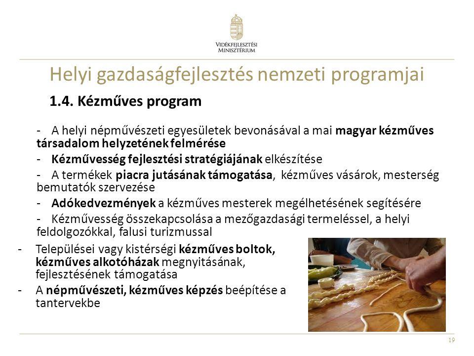 19 1.4. Kézműves program -A helyi népművészeti egyesületek bevonásával a mai magyar kézműves társadalom helyzetének felmérése -Kézművesség fejlesztési