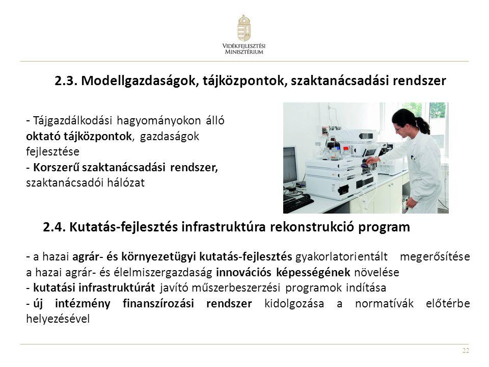 22 2.3. Modellgazdaságok, tájközpontok, szaktanácsadási rendszer - Tájgazdálkodási hagyományokon álló oktató tájközpontok, gazdaságok fejlesztése - Ko