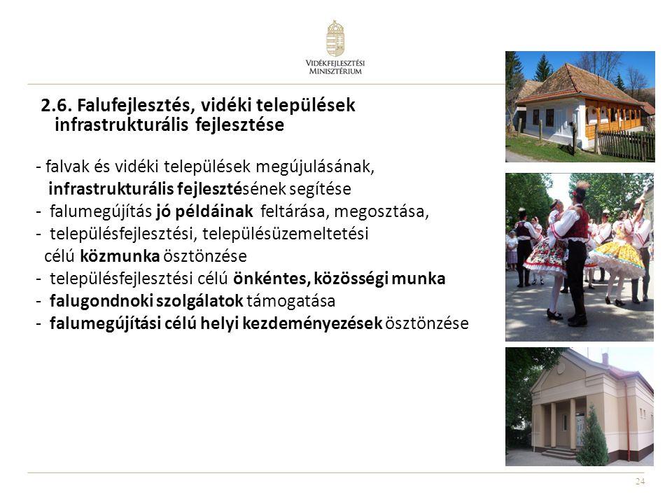 24 2.6. Falufejlesztés, vidéki települések infrastrukturális fejlesztése - falvak és vidéki települések megújulásának, infrastrukturális fejlesztéséne