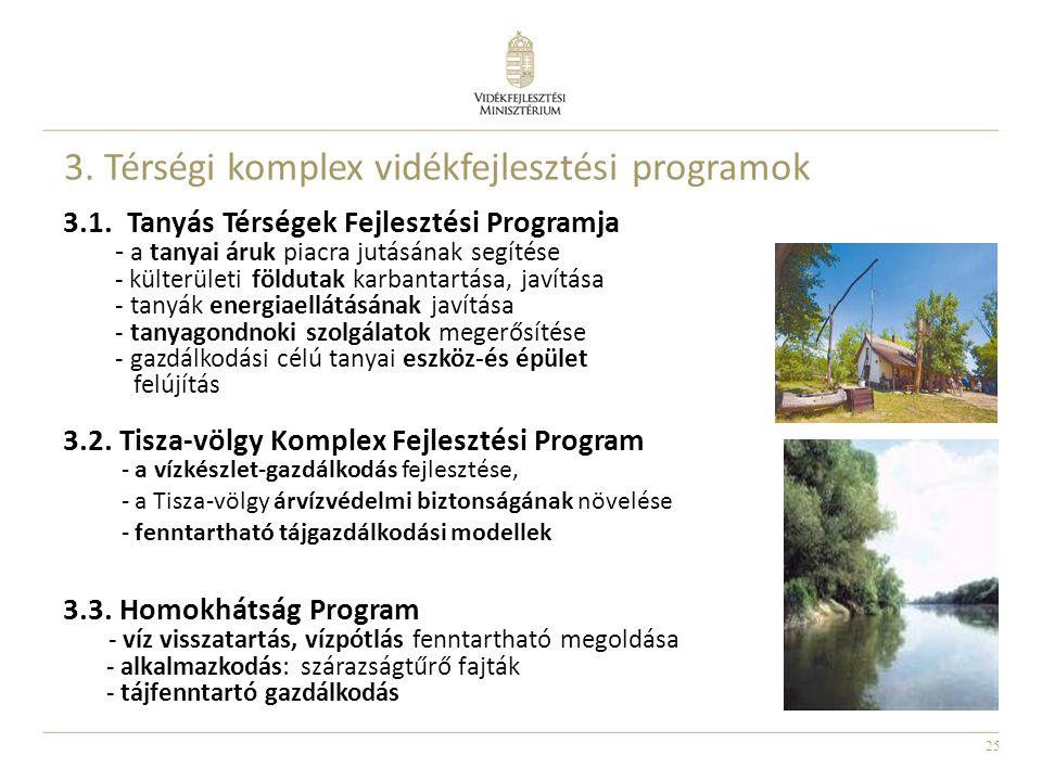 25 3. Térségi komplex vidékfejlesztési programok 3.1. Tanyás Térségek Fejlesztési Programja - a tanyai áruk piacra jutásának segítése - külterületi fö