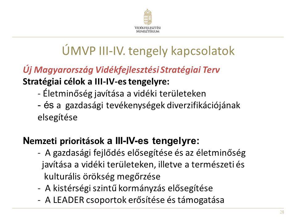 28 ÚMVP III-IV. tengely kapcsolatok Új Magyarország Vidékfejlesztési Stratégiai Terv Stratégiai célok a III-IV-es tengelyre: - Életminőség javítása a