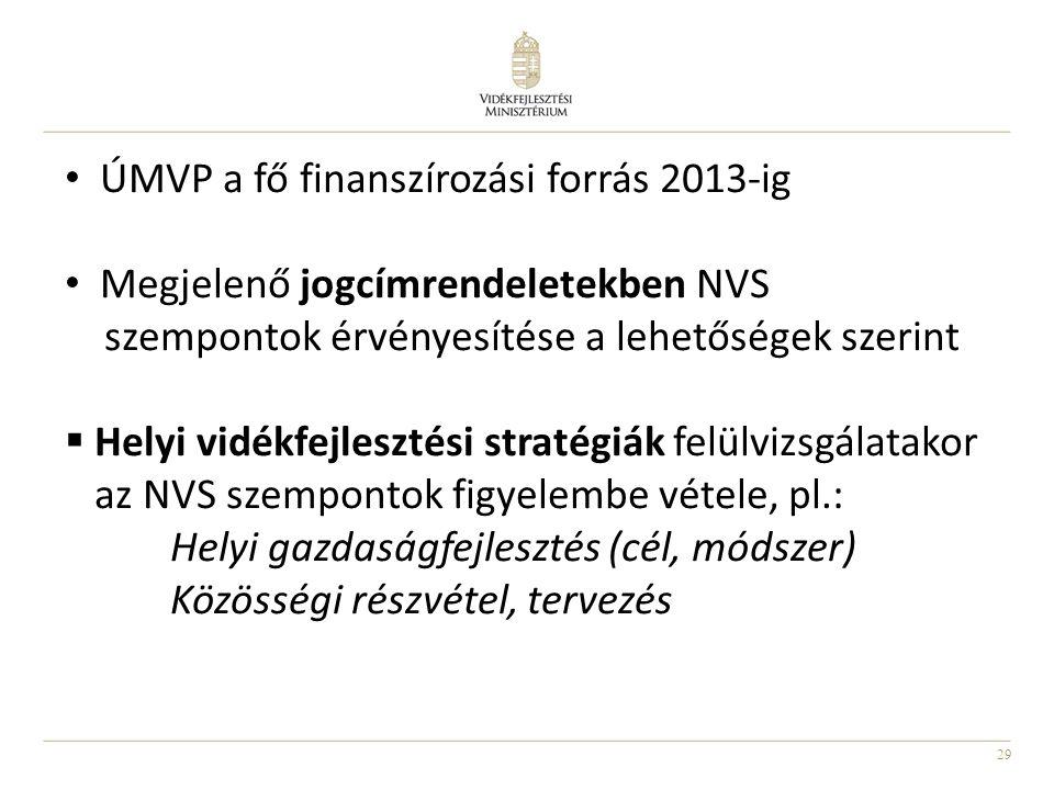 29 • ÚMVP a fő finanszírozási forrás 2013-ig • Megjelenő jogcímrendeletekben NVS szempontok érvényesítése a lehetőségek szerint  Helyi vidékfejleszté
