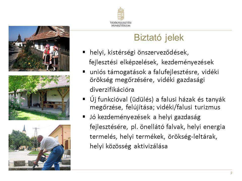 9 Biztató jelek  helyi, kistérségi önszerveződések, fejlesztési elképzelések, kezdeményezések  uniós támogatások a falufejlesztésre, vidéki örökség