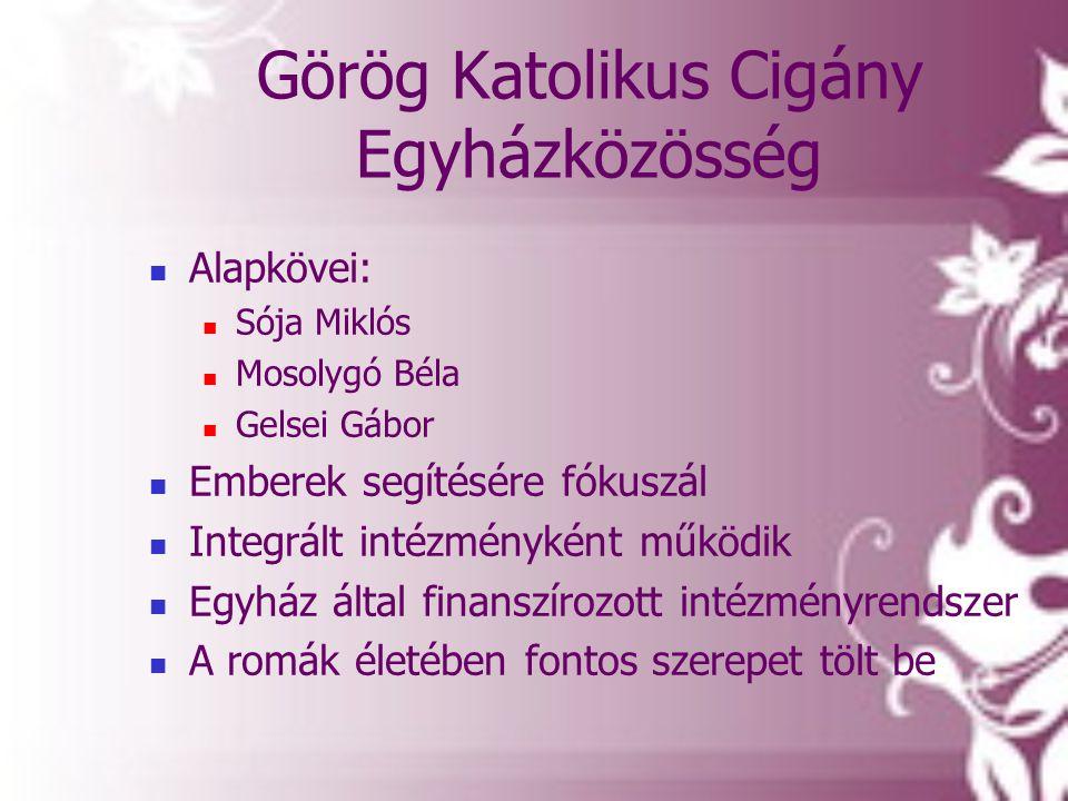 Görög Katolikus Cigány Egyházközösség  Alapkövei:  Sója Miklós  Mosolygó Béla  Gelsei Gábor  Emberek segítésére fókuszál  Integrált intézménykén