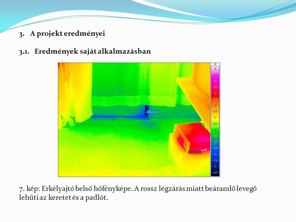3.A projekt eredményei 3.1. Eredmények saját alkalmazásban 7. kép: Erkélyajtó belső hőfényképe. A rossz légzárás miatt beáramlő levegő lehűti az keret