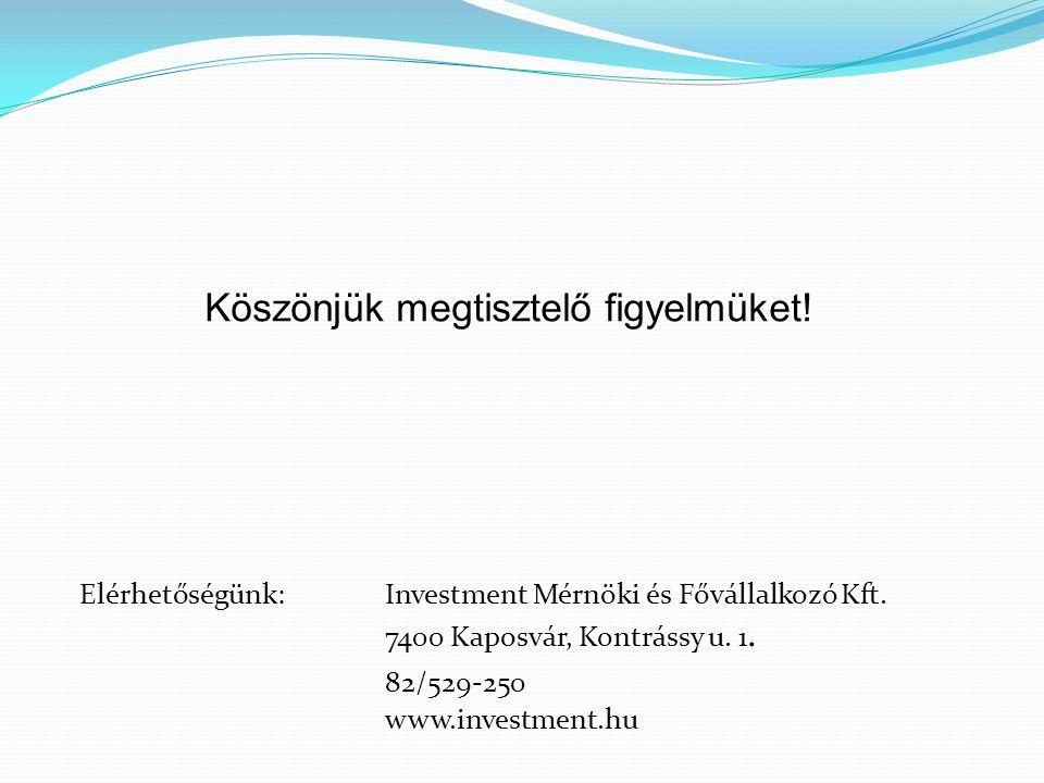 Köszönjük megtisztelő figyelmüket! Elérhetőségünk:Investment Mérnöki és Fővállalkozó Kft. 7400 Kaposvár, Kontrássy u. 1. 82/529-250 www.investment.hu