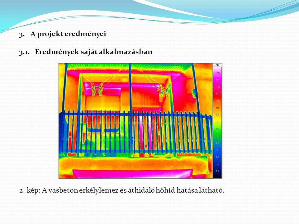 3.A projekt eredményei 3.1. Eredmények saját alkalmazásban 2. kép: A vasbeton erkélylemez és áthidaló hőhíd hatása látható.