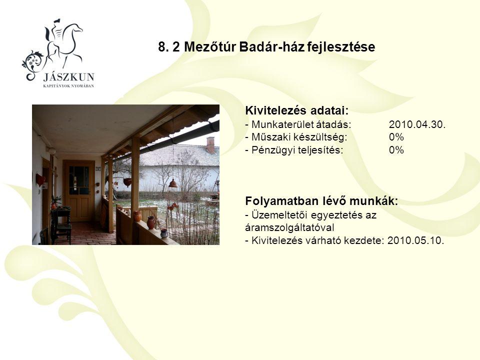 8. 2 Mezőtúr Badár-ház fejlesztése Kivitelezés adatai: - Munkaterület átadás:2010.04.30. - Műszaki készültség:0% - Pénzügyi teljesítés:0% Folyamatban