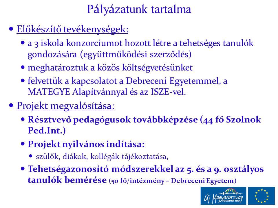 P á ly á zatunk tartalma  Előkészítő tevékenységek:  a 3 iskola konzorciumot hozott létre a tehetséges tanulók gondozására (együttműködési szerződés)  meghatároztuk a közös költségvetésünket  felvettük a kapcsolatot a Debreceni Egyetemmel, a MATEGYE Alapítvánnyal és az ISZE-vel.