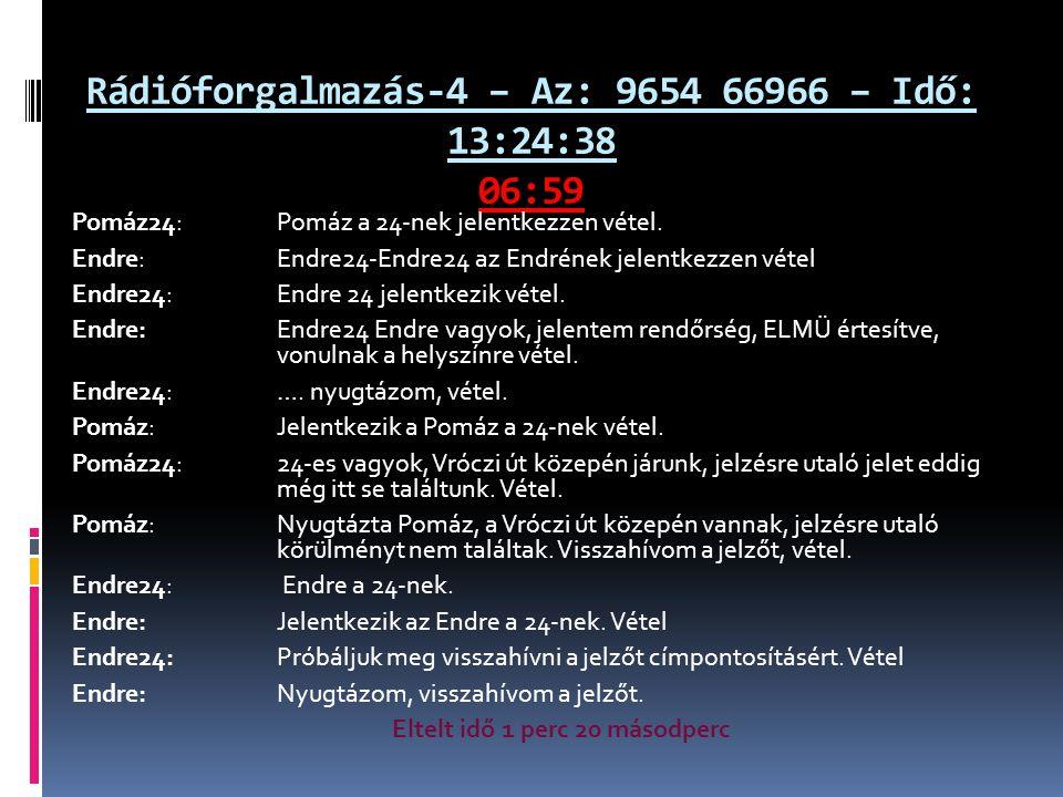 Rádióforgalmazás-4 – Az: 9654 66966 – Idő: 13:24:38 06:59 Pomáz24: Pomáz a 24-nek jelentkezzen vétel. Endre: Endre24-Endre24 az Endrének jelentkezzen
