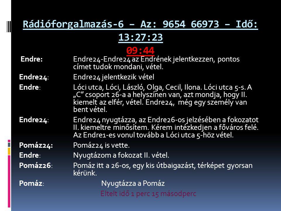 Rádióforgalmazás-6 – Az: 9654 66973 – Idő: 13:27:23 09:44 Endre: Endre24-Endre24 az Endrének jelentkezzen, pontos címet tudok mondani, vétel. Endre24: