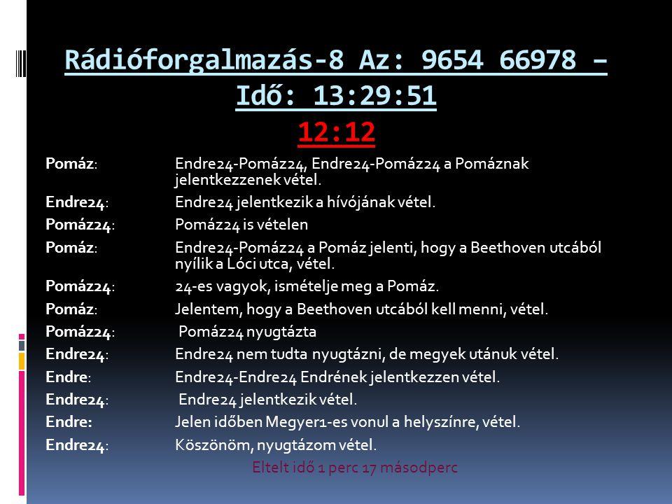 Rádióforgalmazás-8 Az: 9654 66978 – Idő: 13:29:51 12:12 Pomáz: Endre24-Pomáz24, Endre24-Pomáz24 a Pomáznak jelentkezzenek vétel.