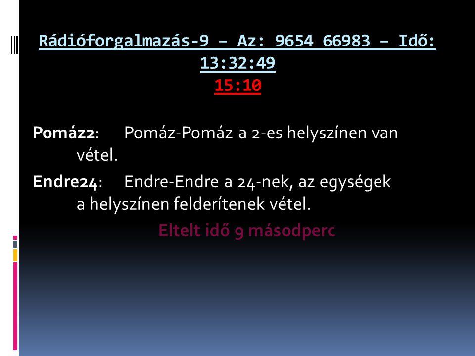 Rádióforgalmazás-9 – Az: 9654 66983 – Idő: 13:32:49 15:10 Pomáz2: Pomáz-Pomáz a 2-es helyszínen van vétel. Endre24: Endre-Endre a 24-nek, az egységek