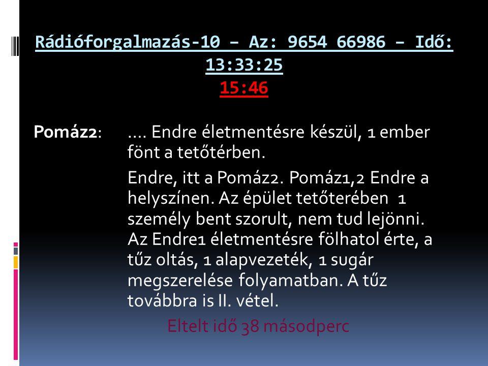 Rádióforgalmazás-10 – Az: 9654 66986 – Idő: 13:33:25 15:46 Pomáz2: ….