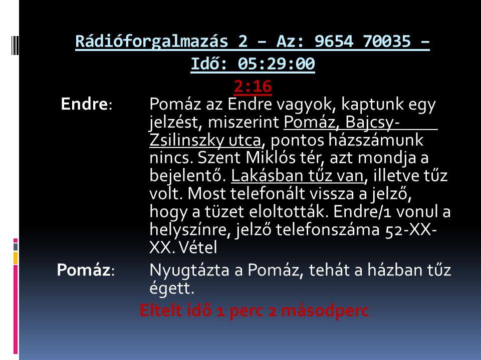 Rádióforgalmazás 2 – Az: 9654 70035 – Idő: 05:29:00 2:16 Endre: Pomáz az Endre vagyok, kaptunk egy jelzést, miszerint Pomáz, Bajcsy- Zsilinszky utca, pontos házszámunk nincs.