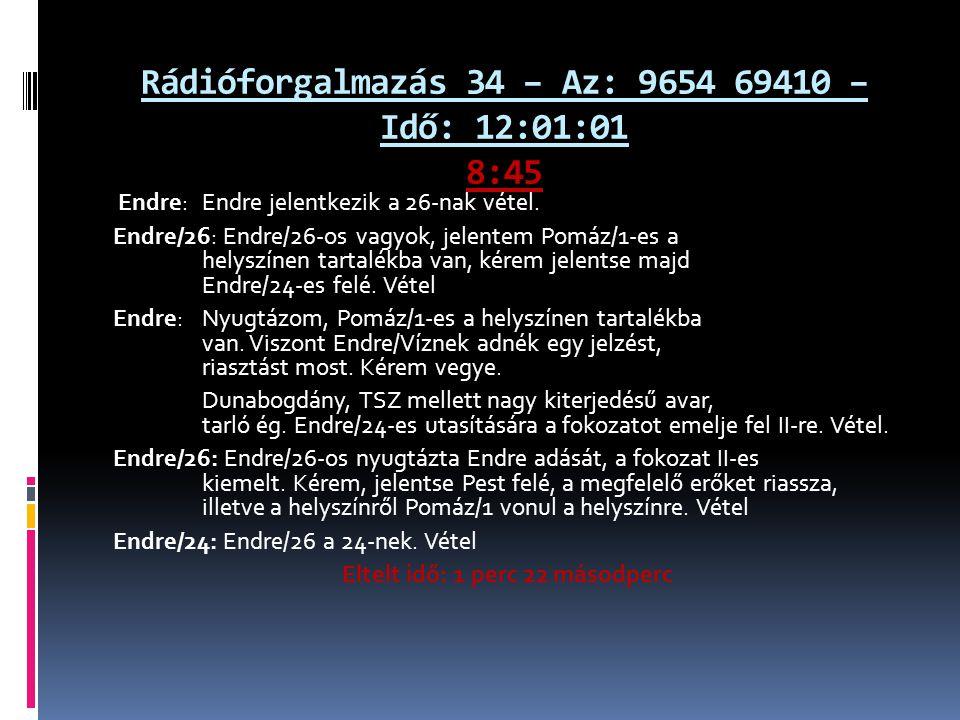 Rádióforgalmazás 34 – Az: 9654 69410 – Idő: 12:01:01 8:45 Endre: Endre jelentkezik a 26-nak vétel. Endre/26: Endre/26-os vagyok, jelentem Pomáz/1-es a
