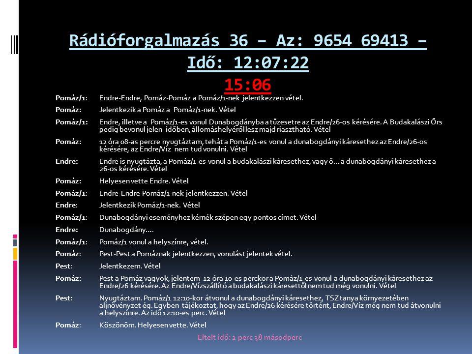 Rádióforgalmazás 36 – Az: 9654 69413 – Idő: 12:07:22 15:06 Pomáz/1: Endre-Endre, Pomáz-Pomáz a Pomáz/1-nek jelentkezzen vétel.