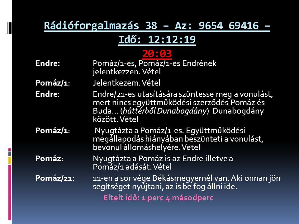 Rádióforgalmazás 38 – Az: 9654 69416 – Idő: 12:12:19 20:03 Endre: Pomáz/1-es, Pomáz/1-es Endrének jelentkezzen.