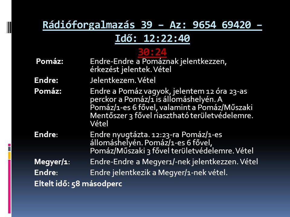 Rádióforgalmazás 39 – Az: 9654 69420 – Idő: 12:22:40 30:24 Pomáz: Endre-Endre a Pomáznak jelentkezzen, érkezést jelentek. Vétel Endre: Jelentkezem. Vé