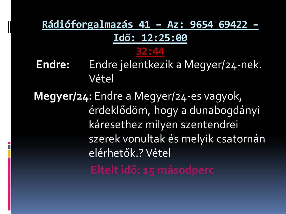 Rádióforgalmazás 41 – Az: 9654 69422 – Idő: 12:25:00 32:44 Endre: Endre jelentkezik a Megyer/24-nek. Vétel Megyer/24: Endre a Megyer/24-es vagyok, érd