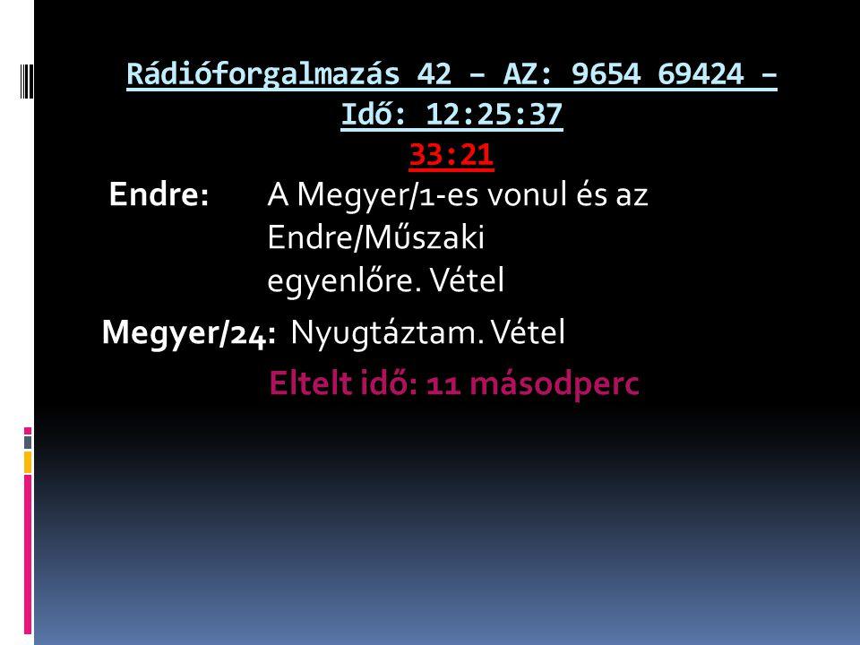 Rádióforgalmazás 42 – AZ: 9654 69424 – Idő: 12:25:37 33:21 Endre: A Megyer/1-es vonul és az Endre/Műszaki egyenlőre. Vétel Megyer/24: Nyugtáztam. Véte