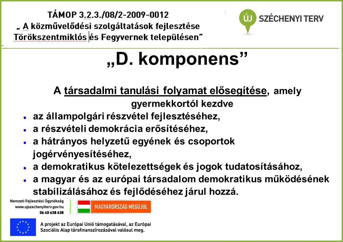 """""""D. komponens"""" A társadalmi tanulási folyamat elősegítése, amely gyermekkortól kezdve  az állampolgári részvétel fejlesztéséhez,  a részvételi demok"""