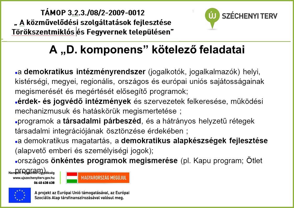 """A """"D komponens célcsoportjai - 1  Romák  nyilatkozat és a kisebbségi önkormányzat igazolás, ajánlása  Alapfokú iskolai oktatásból lemorzsolódottak  bizonyítvány másolata  Alacsony végzettségűek (alapfokú iskolai végzettség)  bizonyítvány másolata  Képesítés nélküliek (érettségizett, szakma nélkül)  bizonyítvány másolata"""