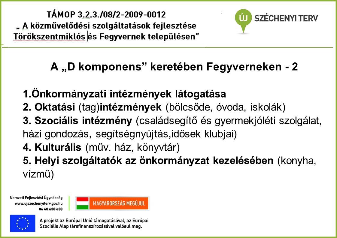 """A """"D komponens"""" keretében Fegyverneken - 2 1. Önkormányzati intézmények látogatása 2. Oktatási (tag)intézmények (bölcsőde, óvoda, iskolák) 3. Szociáli"""
