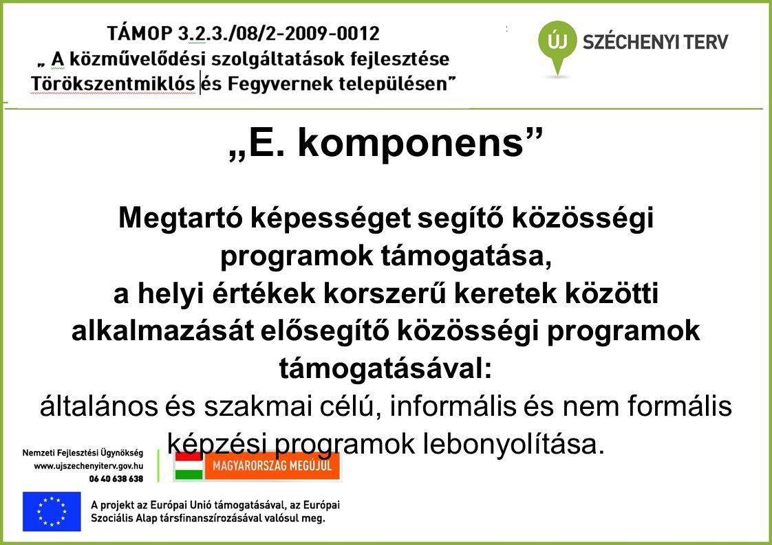 """""""E. komponens"""" Megtartó képességet segítő közösségi programok támogatása, a helyi értékek korszerű keretek közötti alkalmazását elősegítő közösségi pr"""