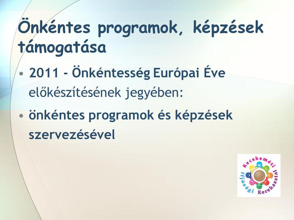Önkéntes programok, képzések támogatása •2011 - Önkéntesség Európai Éve előkészítésének jegyében: •önkéntes programok és képzések szervezésével