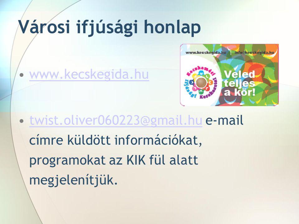 Városi ifjúsági honlap •www.kecskegida.huwww.kecskegida.hu •twist.oliver060223@gmail.hu e-mail címre küldött információkat, programokat az KIK fül alatt megjelenítjük.twist.oliver060223@gmail.hu